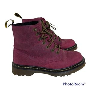 Dr Martens Luana Lace-Up Leather Red Women's Combat Boot 8 2266